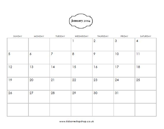 Free Printble 2014 Calendar
