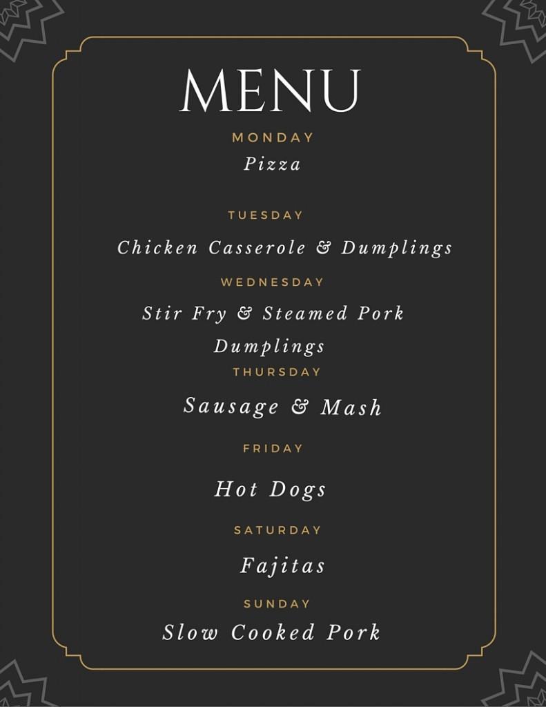Meal Planning 21st September