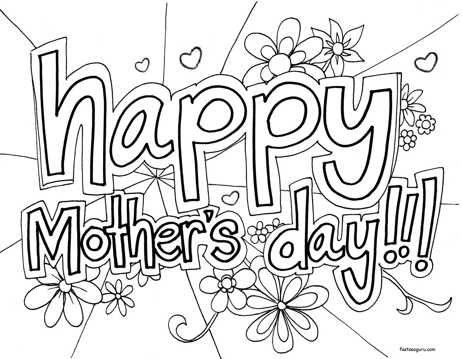 Printable Happy Mothers Day Coloring in sheet